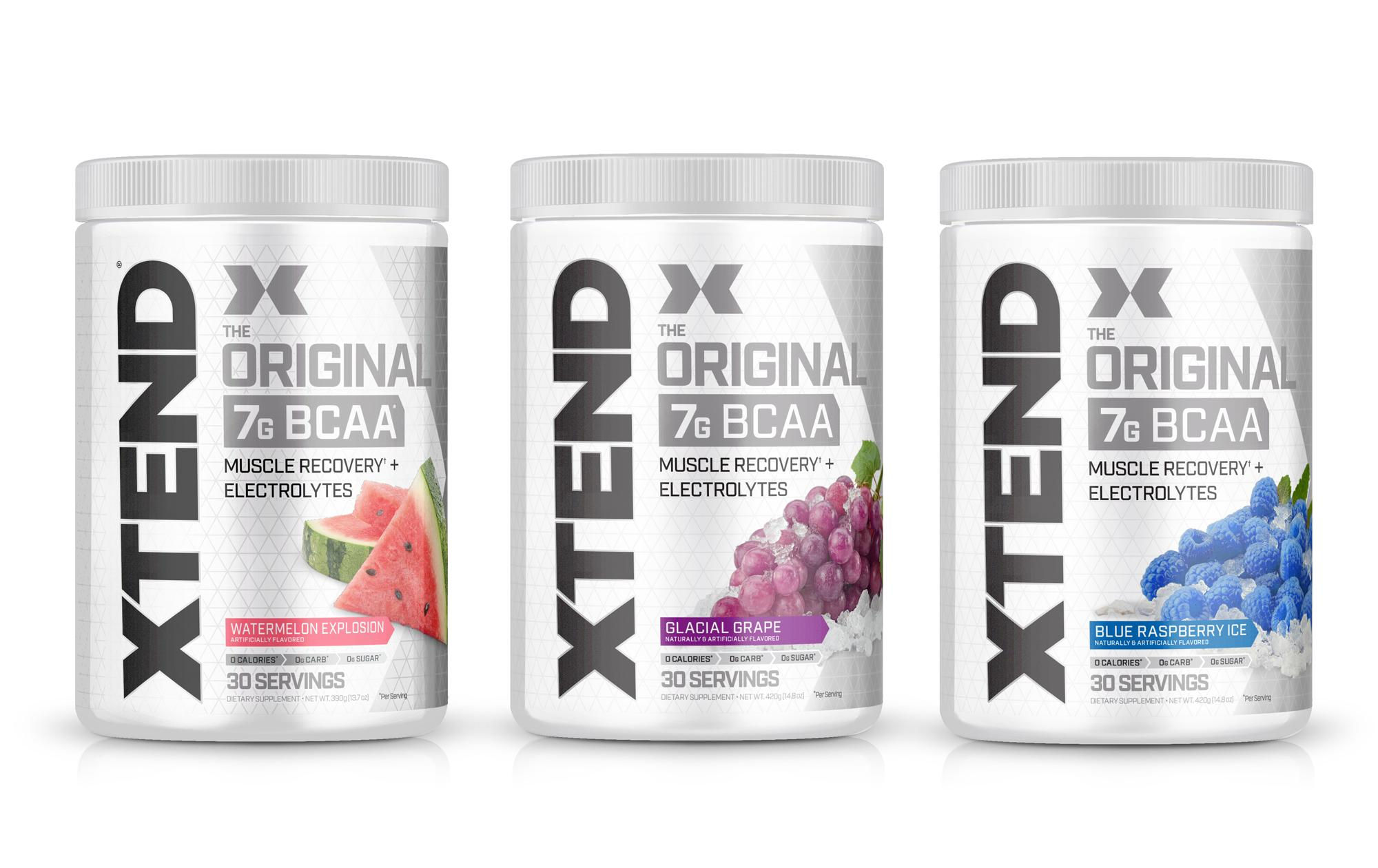 3 flavors of xtend BCAA supplements, watermelon grape and blueberry